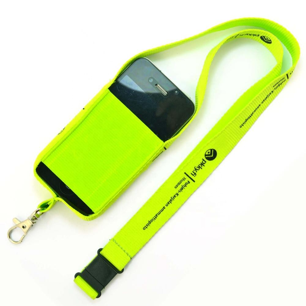 Wholesale polyester mobile holder cellphone pouch lanyard
