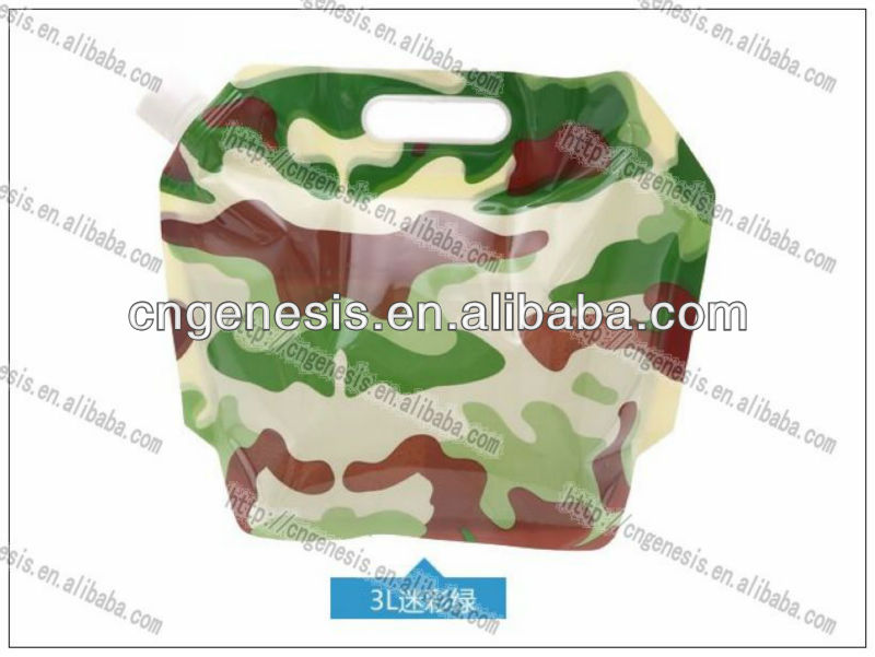 3L plastic collapsible water bag soft water bag for hiking