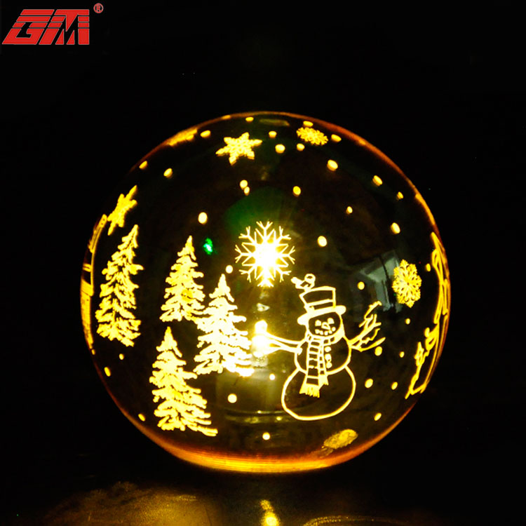 Wholesale handmade inside painted black blowing glass ball with light for craft