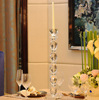 Hot sales 20 inch transparent crystal bead candle holders for restaurant table decoration