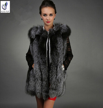 2015 Fashion Fur Vest Fox / Wholesale Clothing Silver Fur Vest For Women