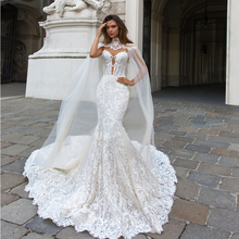 Latest Design Lace Wedding Dress Mermaid with Shawl Backless Women Dresses Deep V Neck Bridal Gowns 2018