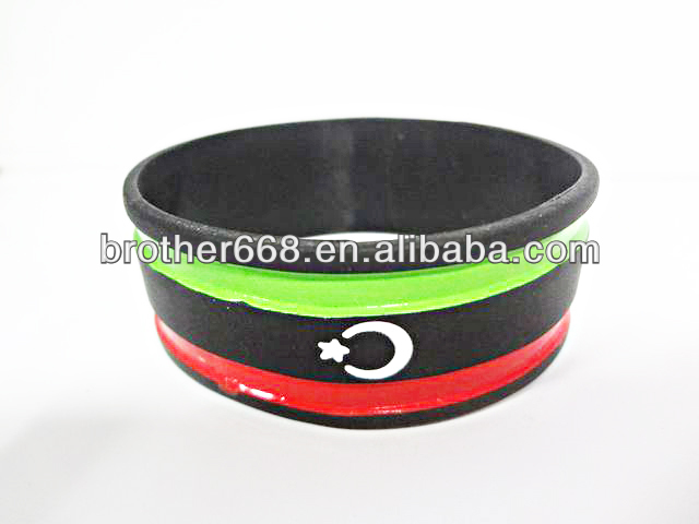 promotional 1 inch country flag silicone ink filed wristband/silicone wrist band/custom contrast color silicone rubber bracelet