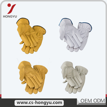 High grade dark yellow short building welding heavy duty hand leather work gloves