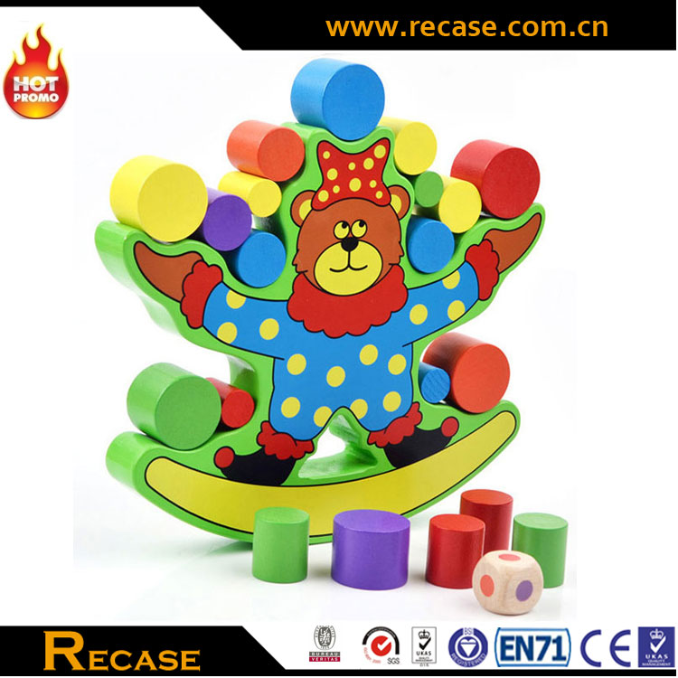 Popular wooden bear balance building blocks toy,Funny DIY wooden balance building blocks toy