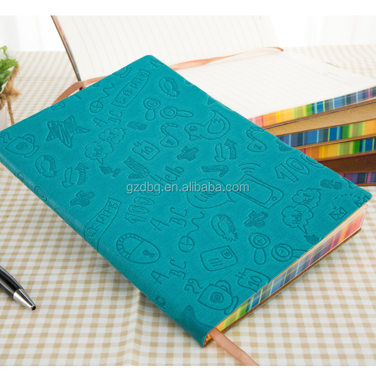 Fashion colored business writing leather A5 pu note book with elastic band