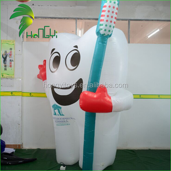 Oxford Cloth Inflatable Tooth Shaped Balloon , Inflatable Teeth Model With Toothbrush For Advertising