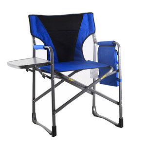 High quality custom logo Aluminum Portable Director Folding Chair With Side Tray