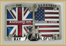 BUC9031 rectangle with guitar ,the old glory and union jack western belt buckles