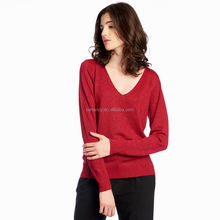 2017 latest new style simple design one piece V neck thin sweater woman