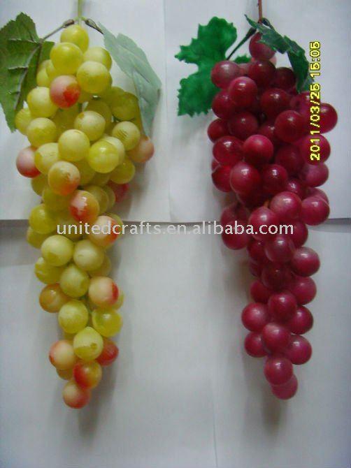 Frutas recipiente de pl stico de uva faux dos tonos - Frutas artificiales para decoracion ...
