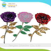 Embroidered sequins cheap embroidery rose sequin applique for decorate