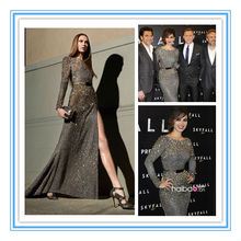 Stunning Long Sleeve High Silt Celebrity Dress new model evening dress(EVFA-1115)