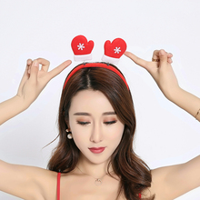 SJ041 Cheap Festival Decorations Snowflake Headbands Red Custom Lady Christmas Hair Band