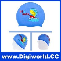 Waterproof Cartoon Pattern Silicone Ear Protection Swim Cap for Kids