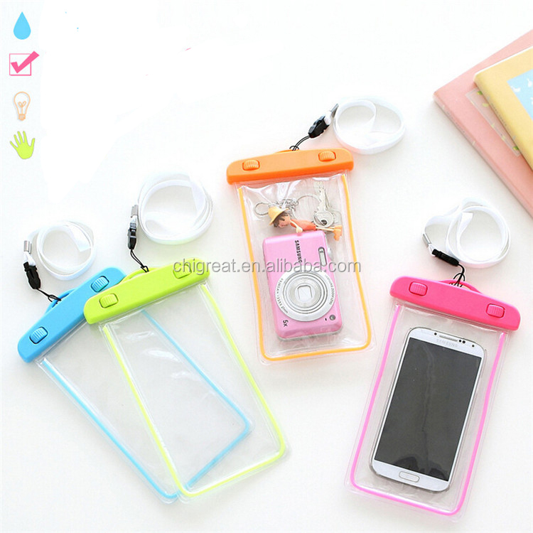 Fluorescence Waterproof Durable Water proof Bag Underwater back cover waterproof phone bag case