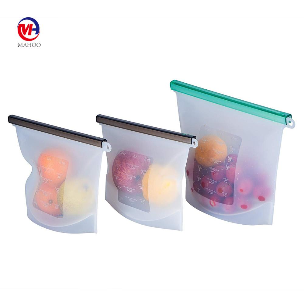 Reusable Silicone Storage Bags Zip Bags Food Grade Safe Longer Lasting Meal & Snack Savers Freezer Seal Bag