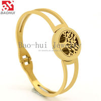 New Product Gold Aromatherapy Locket Tree Bangle Stainless Steel Flexible Open Essential Oil Diffuser Locket Perfume Bangle
