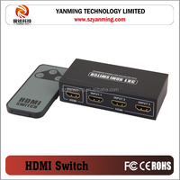 3 port HDMI switch 3x1 metal case with remote control