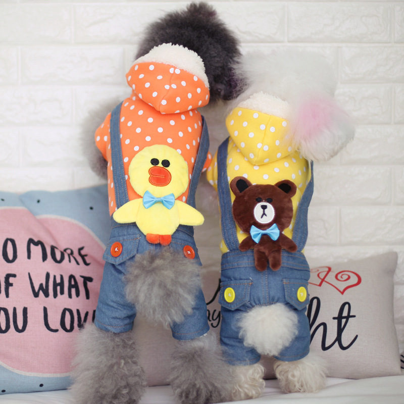 2017 new autumn and winter pets four feet clothing cartoon head pet pet jeans straps pants dog clothes thicker models