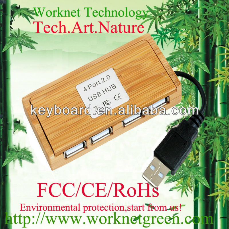 2016 most popular environmental bamboo USB hub , 4 port bamboo usb hub factory in China