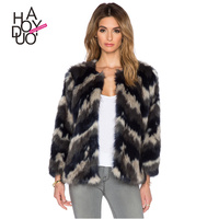 HAODUOYI Women Winter Short Style Coats Faux Fur Over Coats for Wholesale
