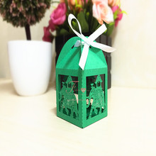 2016 New Hot Elegant Elephant Design Laser Cut Green Candy Box Wholesale