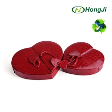 Hinged with ribbon heart shape cardboard packaging gift box