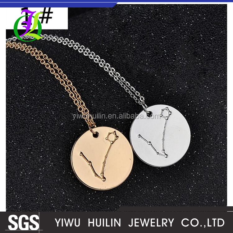JTBC1016 Yiwu Huilin Jewelry European and American style Horoscope star pendant ornament necklace variety of fashion chain