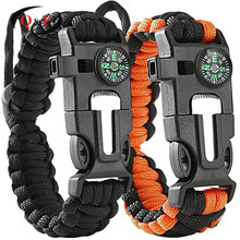 paracord survival bracelet with Whistle, Compass, Thermostat, Fire Starter