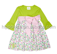 Hot sale floral dress with pink belt bell sleeve children 100% cotton clothes girls frocks design dresses