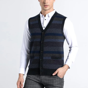Classic Intarsia Argyle Sleeveless Buttons V Neck Men Sweater Vest Wholesale