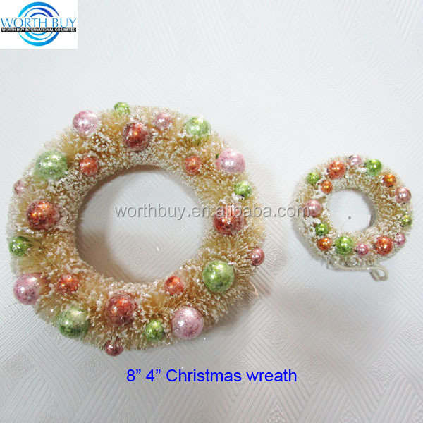 "4"" & 8"" wholesale artificial ivory christmas wreaths decorations"
