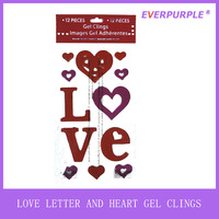 2016 High Quality Different Heart Shaped Love Letter Valentine Gel Cling and Jelly Window Gel Sticker For Decoration