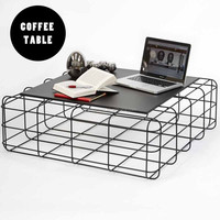 Metal Wire Pane Mesh Square Japanese Coffee Table