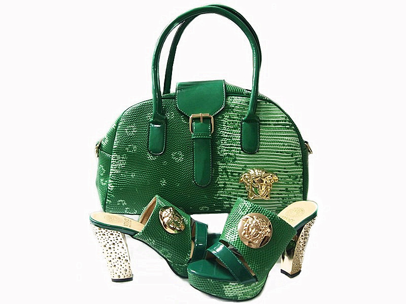 2016 New arrival! Italian shoes and bags. green High <strong>Heels</strong> and Handbag matching set .to match women dress HNY08-9