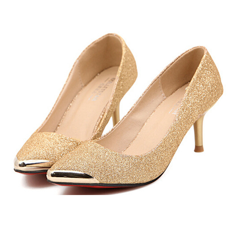 a5f6226965c Red Bottom High Heels Fashion Women Pumps Gold Black Pointed Toe Zapatos  Mujer