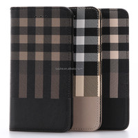 NEW checked grain pu leather flip phone case with photo window