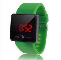 Hot Selling LED mirror Unisex watches sport touch digital silicone Women Men Watch 9 Colors DW038