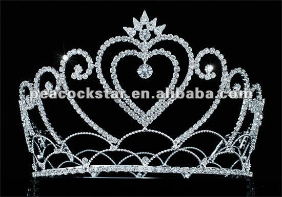 "Wholesale Heart Pageant Tall 4.75 "" / 12 cm Tiara Full Circle Round Crystal Crown CT1690"