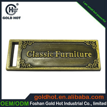 copper custom metal labels,cheap nameplate,aluminum logo for furniture