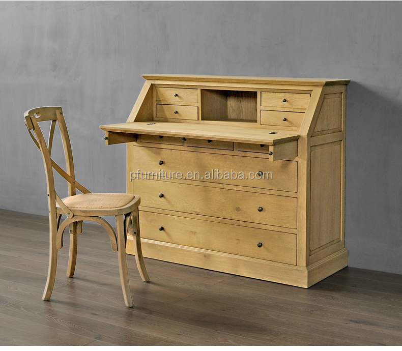CD0817-1 American country village Bedroom study solid wood floding stretch extension plate multi-function desk storage cabinet