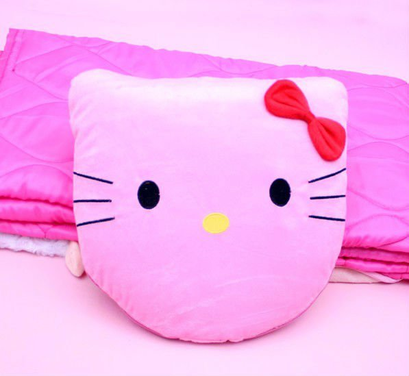 Lovely Kitty Embroidery Blanket Cushion