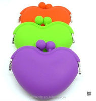 fashion stylish heart silicone coin purse with free sample shipping
