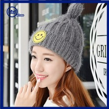 Yhao custom cute logo knitted beanie hat winter warm beanie hat crochet causal hat for wholesale