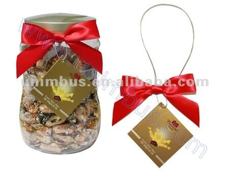 pre tied bow for bottle neck,jar decoration used in candy chocolate promotion,bottleneck accessory