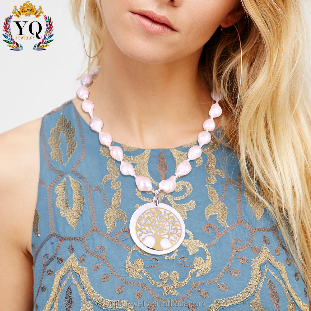 NYQ-00388 natural irregular real freshwater pearl necklace designs for women with gold tree pattern round shell