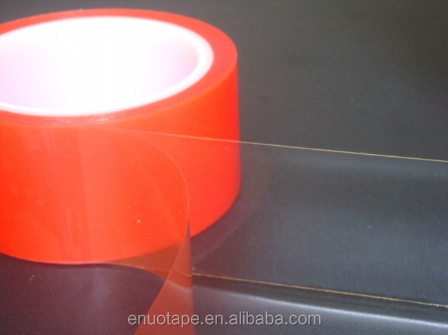 Tesa 4965 Similar Double Sided Transparent Acrylic Adhesive Red Line PET Tape