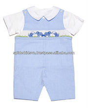 Baby Boy Light Blue Mini Gingham Smocked Happy Elephants Shortall