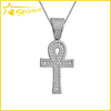 Men's 14K White Gold Lab Diamonds Egyptian Ankh Cross Pendant